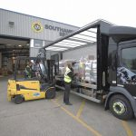 Truck being loaded at Southampton Freight Services