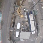 Birds-eye-view of the installation from the bottom of a crane working onsite