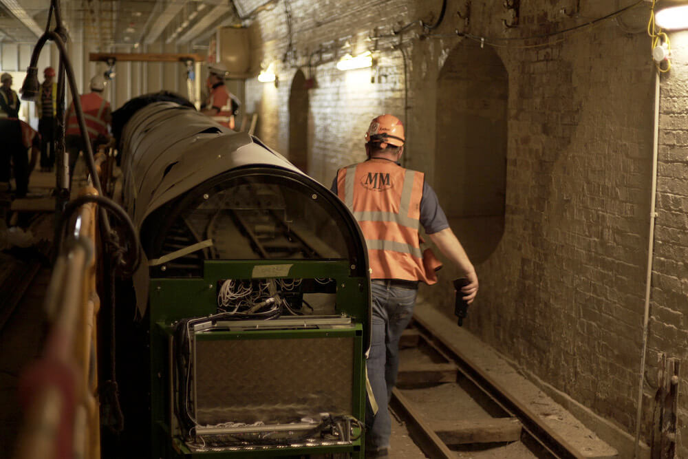 A carriage in situ underground at the Postal Museum