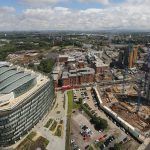Elevated view looking over the NOMA redevelopment, specifically the residential build - Angel Gardens - in Manchester