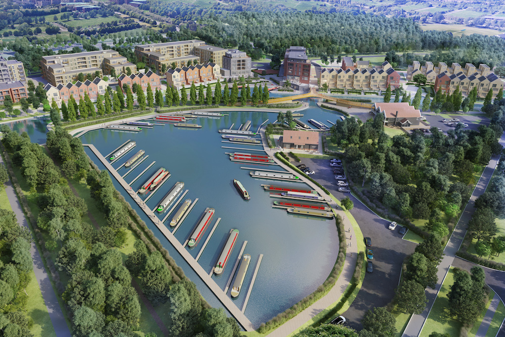Aerial CGI image envisaging completed Campbell Wharf development.