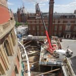 Capture of the latest phase of construction for the Royal Albert Hall's major project, The Great Excavation.